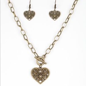 Victorian Romance Brass Necklace & Earrings Set